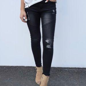 NWT Boutique Moto Black Denim Skinny Jeans 10